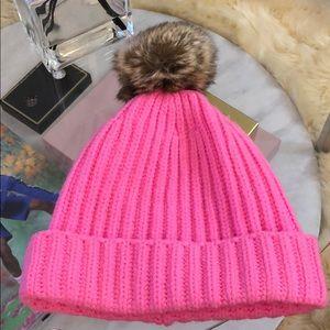 J Crew Pink Beanie Cap - new - knitted w/ fur ball
